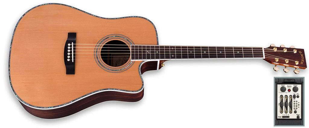 "ZAD80CE Solid Cedar/Rosewood Acoustic Electric ""AURA"" Pro Series"