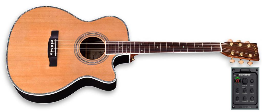 "ZAD80CE Solid Cedar/Rosewood Acoustic Electric Pro Series Smaller ""OM"" Size"