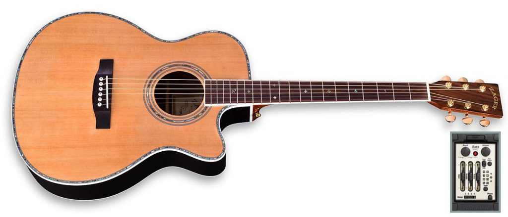 "ZAD80CE Solid Cedar/Rosewood Acoustic Electric AURA Pro Series Smaller ""OM"" Size – DISCONTINUED"