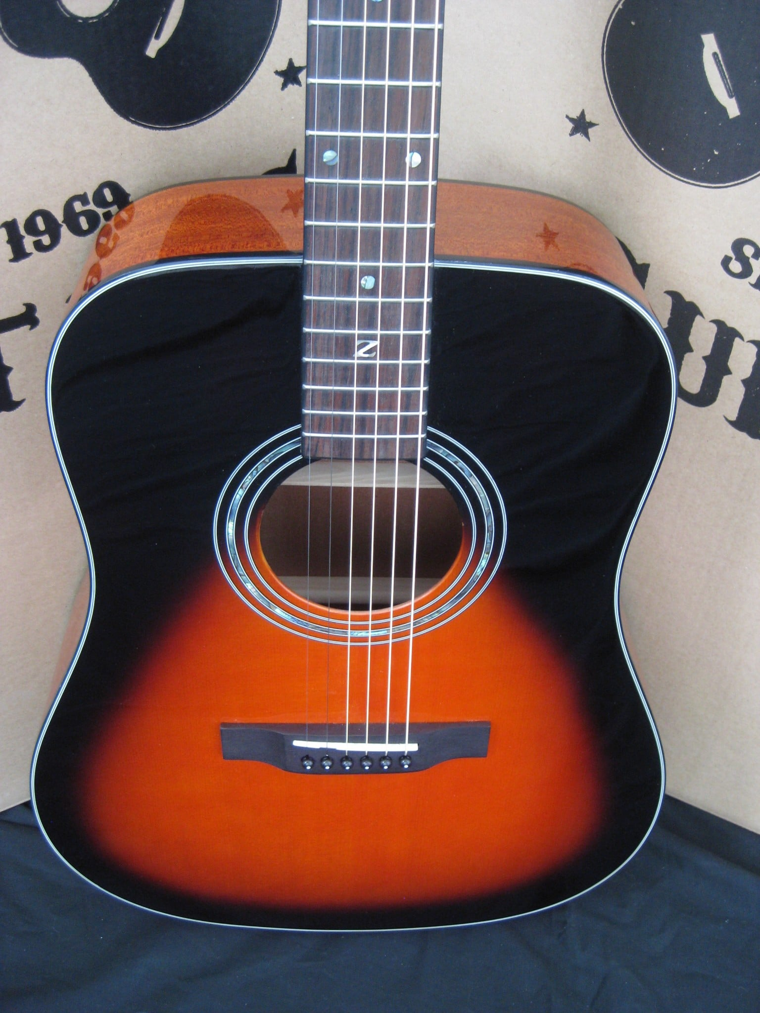 #1780 ZAD20LH Vintage Sunburst LEFT HAND Acoustic Discount Guitar