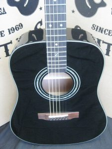 #1851 ZAD20E  Black Acoustic Electric Discount Guitar
