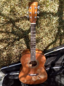 Parlor Size Left Handed Solid African Mahogany Acoustic Electric