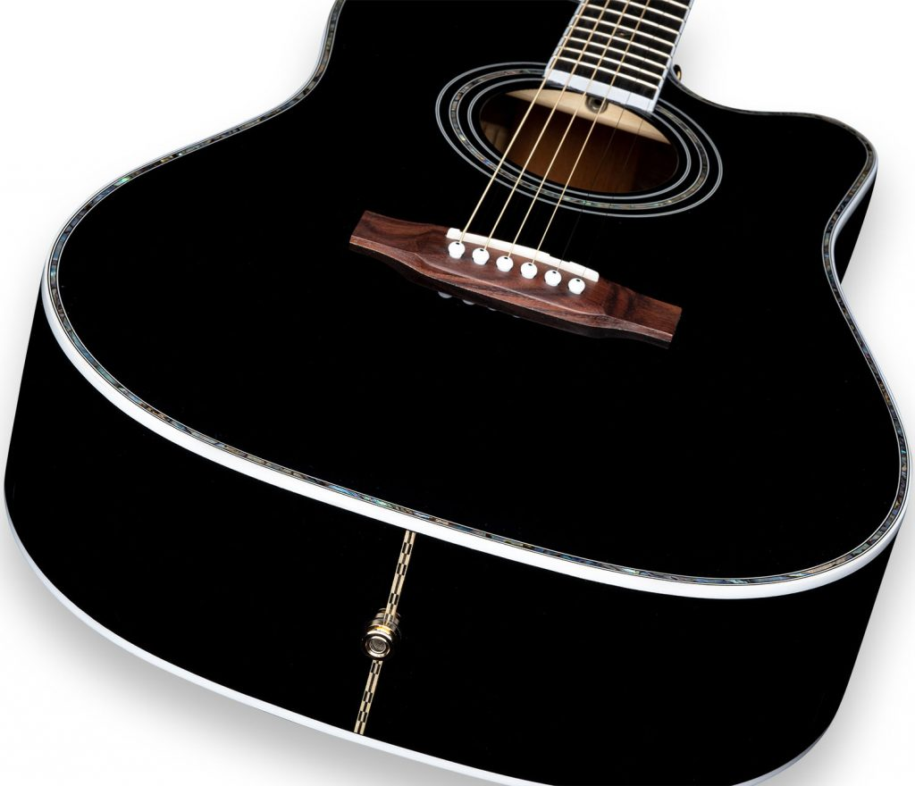"ZAD80CE ""AURA"" Johnny Cash Limited Edition Black Lacquer Solid Cedar/Rosewood Acoustic Electric Pro Series"