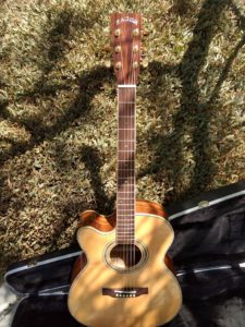 """ZAD900CE Left Handed Solid Spruce/Rosewood Acoustic Electric AURA Smaller """"OM"""" Size"""